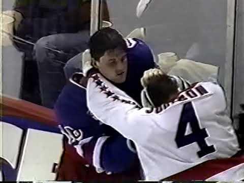 Kevin Kaminski Vs Mark Messier / Rangers Vs Capitals Line Brawl 1995
