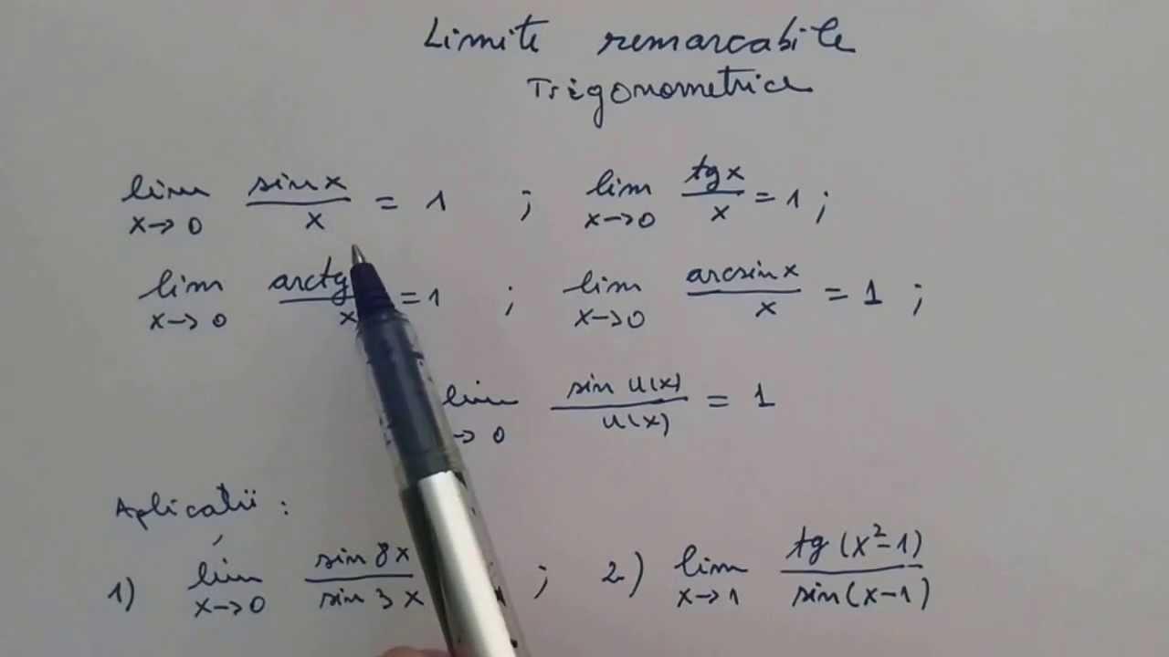 Limite Remarcabile, Trigonometrice. Lim(sinx/x) = 1