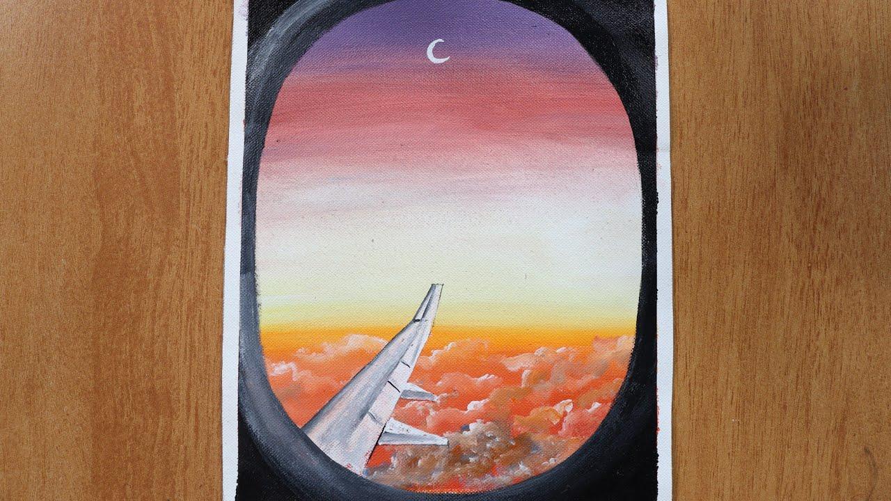 Airplane Windows Scenery Panting Acrylic Painting On Canvas Step