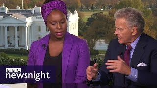 Is Donald Trump racist? Chimamanda Ngozi Adichie v R Emmett Tyrrell - BBC Newsnight