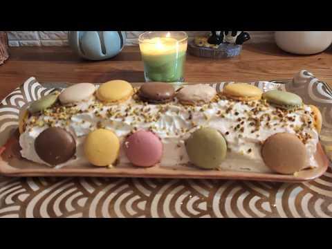 bûche-au-macarons-fête-de-noël-cuisine-maliya,كيكة-ممتازة-ورائعة-راس-السنة😷👈