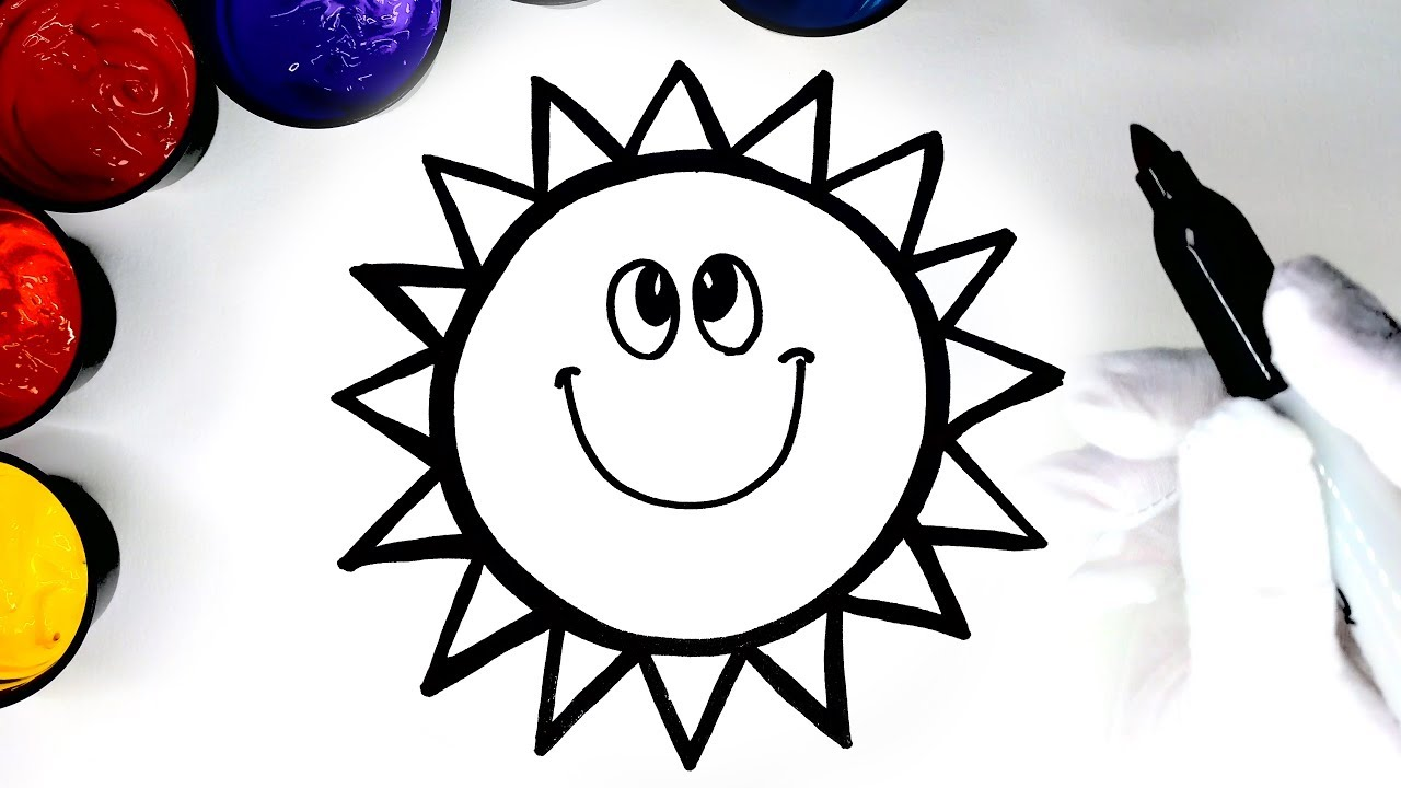 Coloring a happy Sun Coloring page with Paint, Drawing a sun so ...