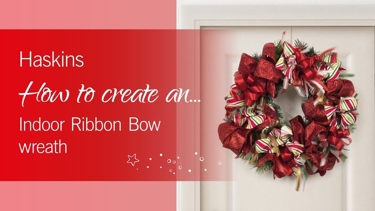 Christmas Ribbon Wreaths.Indoor Ribbon Bow Christmas Wreath Haskins Garden Centres