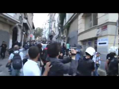 taksim protests: police shooting protester with gun