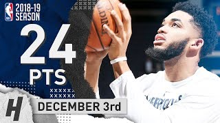 Karl-Anthony Towns Full Highlights Wolves vs Rockets 2018.12.03 - 24 Pts, 11 Reb