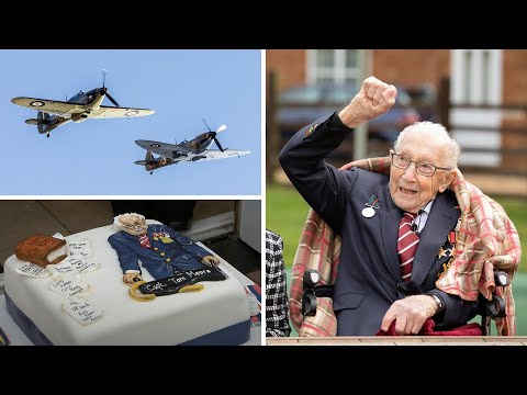 Captain Tom Moore celebrates 100th birthday with flypast, rank promotion and letter from the Queen