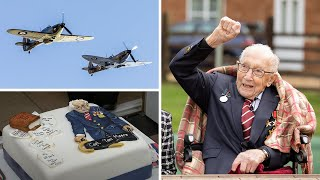 video: A military flypast, a message from the Queen and 150,000 cards - 'incredible' Captain Tom turns 100 in style