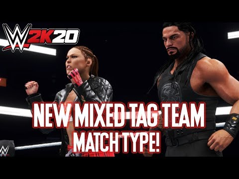 WWE 2k20 Mixed Tag Team Match! Ronda Rousey & Brock Lesnar Vs Becky Lynch & Roman Reigns (WWE 2k20)