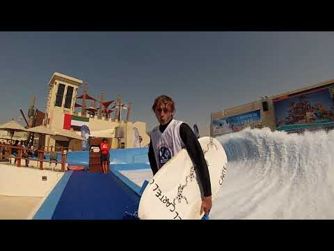 Chris FlowRider FLow Barrel at Yas Waterworld Waterpark Abu Dhabi Dubai UAE Surf Machine Pro Tricks