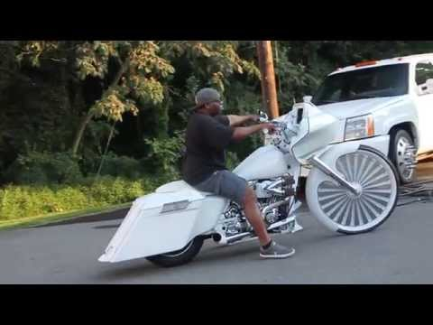 """motorcycle with 30 inch floating wheel, floater, custom floater 30"""", spinning, spinner, chrome"""