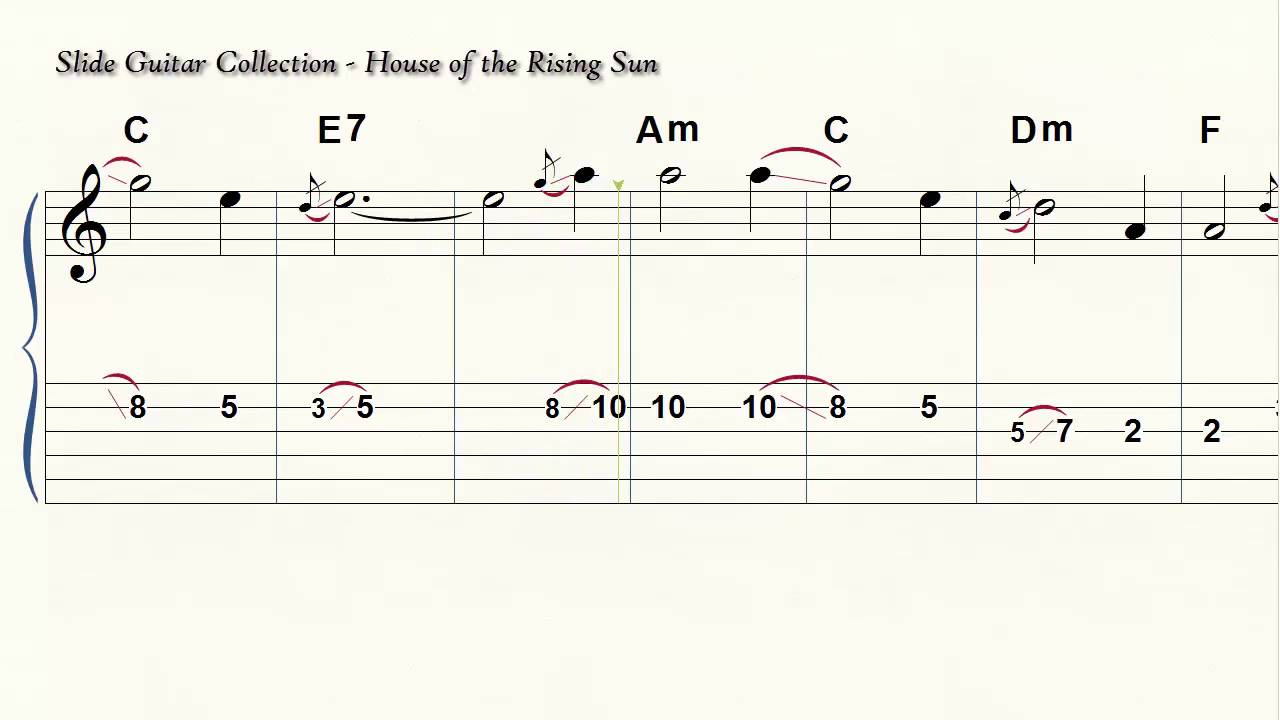 Slide Guitar House Of The Rising Sun 6 String Standard Tuning Acoustic  Electric