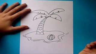 Como dibujar una palmera paso a paso | How to draw a palm tree