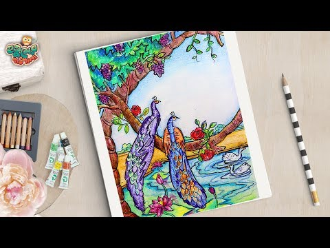 peacock-scenery-drawing-tutorial-|-how-to-draw-peacock-scenery-step-by-step