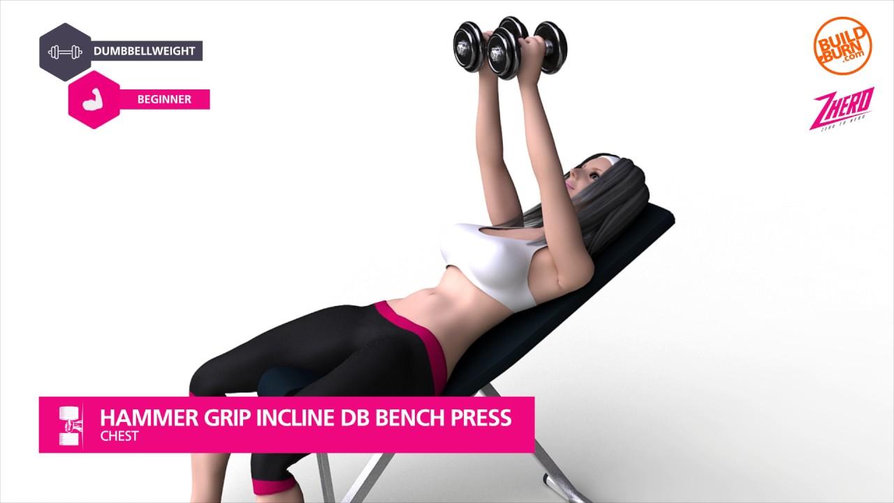 Hammer Grip Bench Press Part - 30: Chest Hammer Grip Incline DB Bench Press