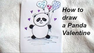 How to draw a PANDA VALENTINE, easy crafts for kids, diy valentines, Video # 175