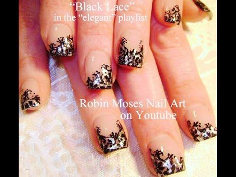 #inspiredbyrobinmoses #nailart #robinmoseswizards - Black Lace Nails Sexy Nail Art Design Tutorial - YouTube