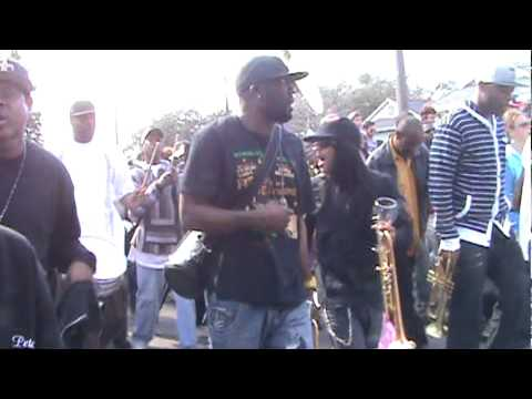 Treme Sidewalk Steppers rolling down Broad St. with Rebirth Brass Band