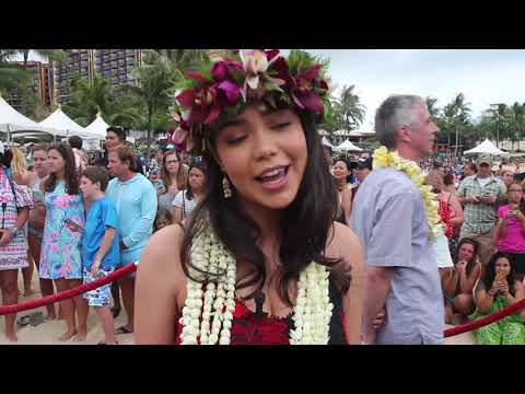 Moana star Auli'i Cravalho during Blue Carpet event in Hawaii