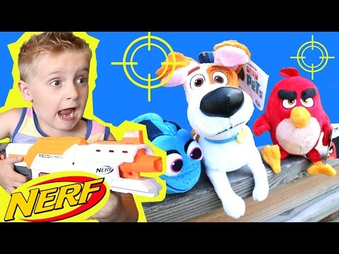 NERF BLASTERS Toy Shootout with Secret Life of Pets Toys, Angry Birds and Finding Dory by KidCity