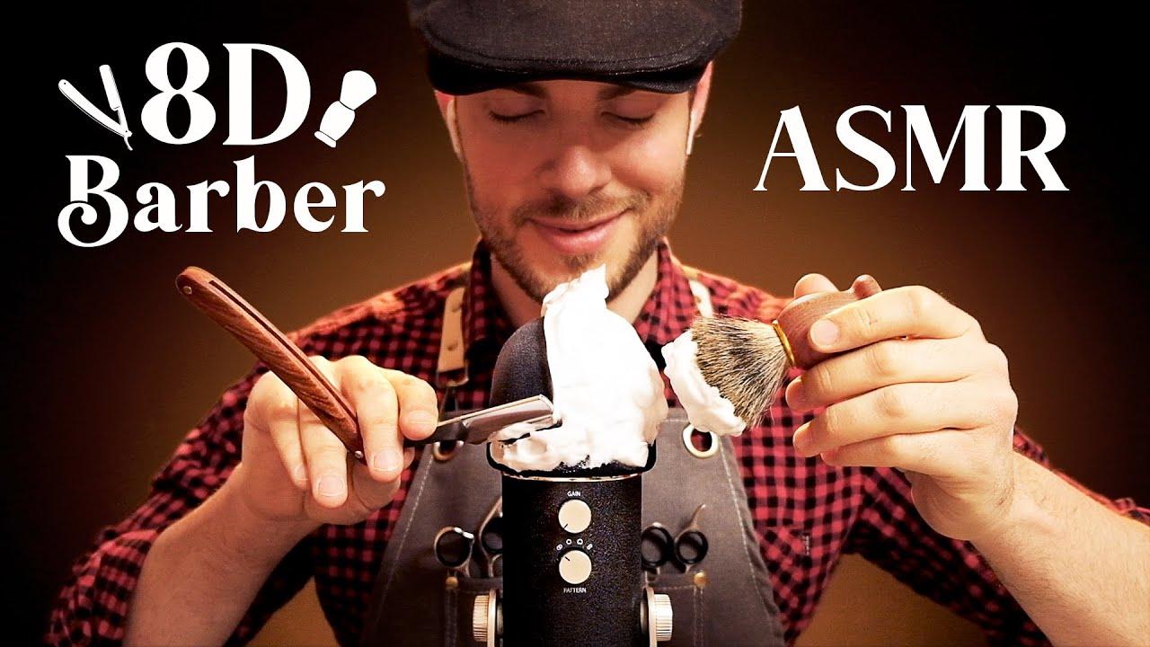 ASMR 8D Barbershop | 360° Haircut & Shaving Triggers for Sleep and Tingles [Ultra Realistic]