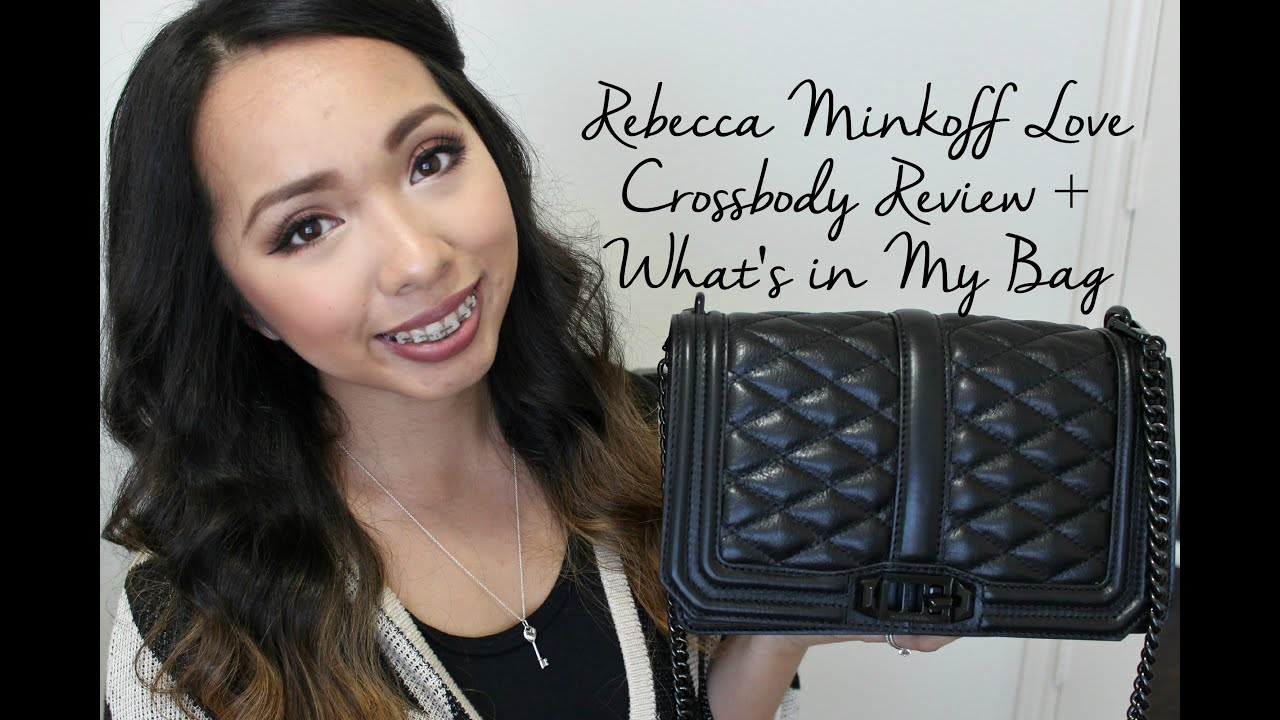 rebecca minkoff love crossbody review what s in my bag youtube