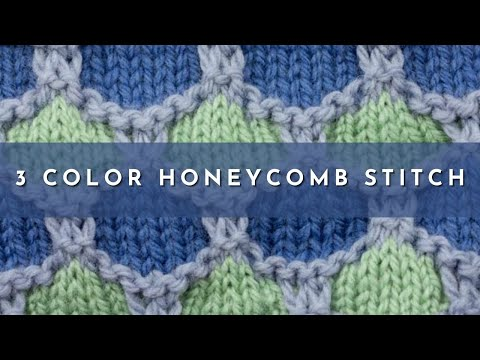 Knitting Pattern For Honeycomb Baby Blanket : How to Knit the 3 Color Honeycomb Stitch - YouTube