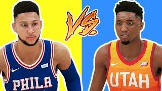BEN SIMMONS VS DONOVAN MITCHELL   BATTLE OF THE ROOKIES NBA 2K18