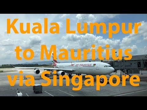 Kuala Lumpur, Malaysia (KUL) to Mauritius (MRU) via Singapore (SIN) on Air Mauritius A340-300