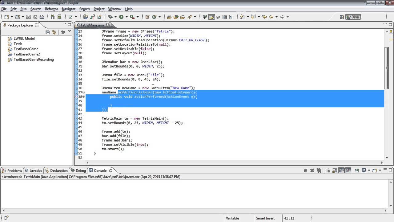 Java tetris tutorial 2 making a menu bar youtube java tetris tutorial 2 making a menu bar baditri Image collections