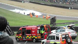 Fire truck rolls at Brands Hatch 3oth october 2011