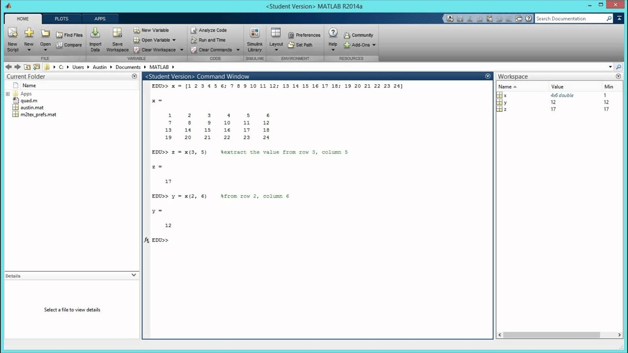 How to Extract Values from a Matrix in MATLAB  [HD]