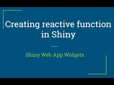 Shiny web app Tutorial | How to create reactive functions in shiny | R  Programming Tutorial
