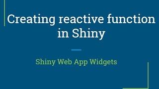 Glänzend web-app-Tutorial | Wie erstelle reaktiven Funktionen in shiny | R-Programmierung Tutorial