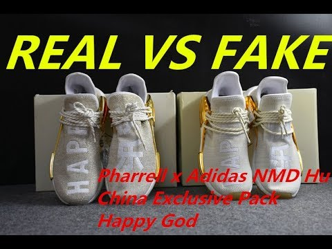 new concept fae20 c13b8 REAL VS FAKE Pharrell Williams x Adidas Human Race NMD Happy Gold China  Exclusive Pack Comparison