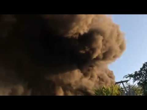 Massive fire of tire plant in Lockport, NY - Video 1