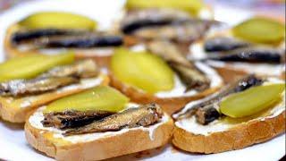 Вкусные бутерброды со шпротами - закуска на праздничный стол./Sandwiches with sprats.