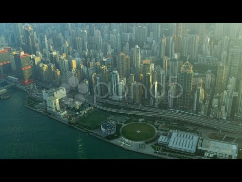 Aerial View Victoria Harbour Hong Kong . Stock Footage