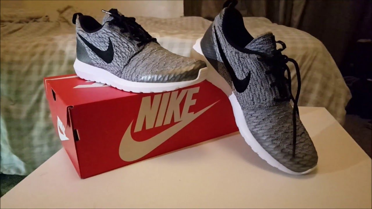 official photos b2d3c f351f Nike Roshe NM Flyknit SE Wolf Grey Unboxing - YouTube