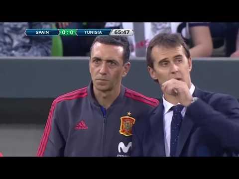 スペイン vs チュニジア 1 - 0 ゴール&ハイライト 2018/06/09