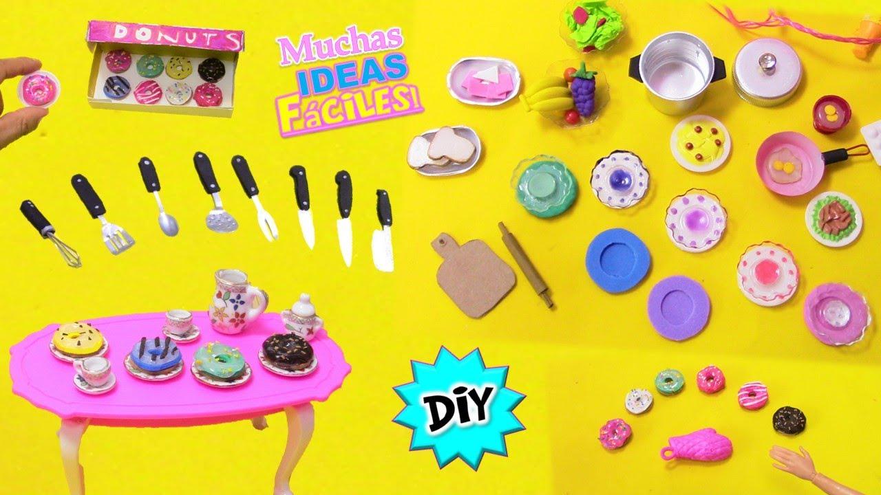 🙌Muchas IDEAS para la COCINA de Barbie!! | Manualidades FÁCILES para Muñecas en Miniatura RECOPILACI