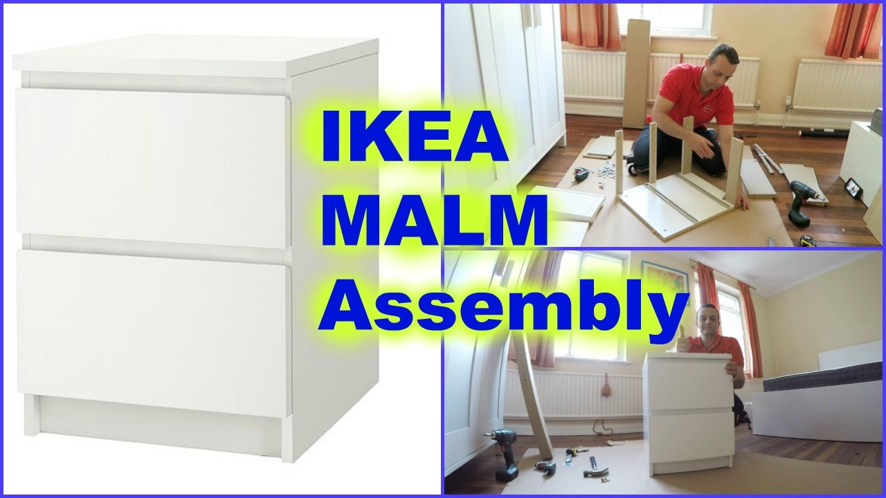 ikea malm chest of 2drawers nightstand assembly youtube