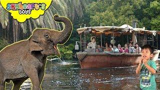 Playful Elephants on a JUNGLE RIVER CRUISE! Skyheart in disneyland boat ride kids zoo