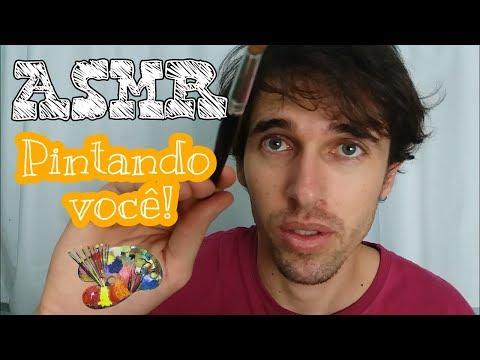 [ASMR em Português] Pintando você!!! Pincel na tela e voz suave.