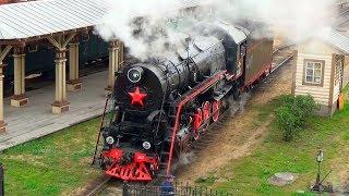 Паровоз Л-2057 заезжает в паровозное депо Подмосковная