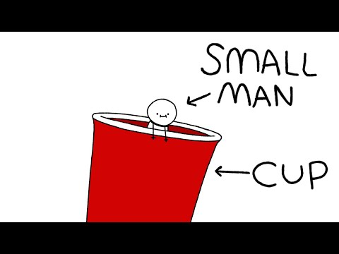 a small man in a cup