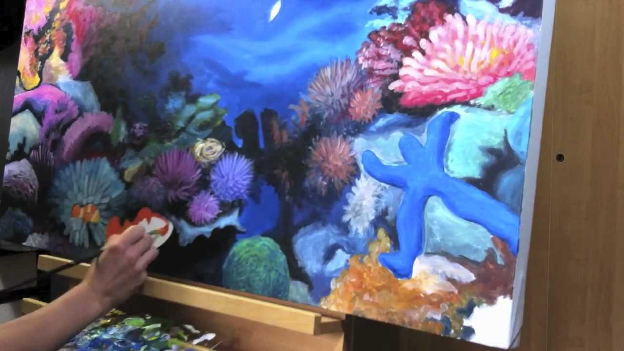 Malerei Deckenbild Korallenriff 1x1 Meter Acryl Auf Leinwand Youtube