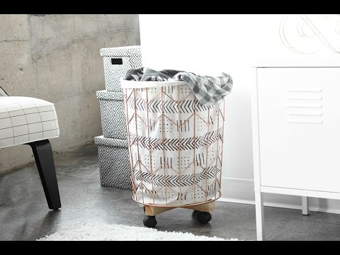 MY DIY | Mudcloth Print Cotton Canvas & Wire Hamper