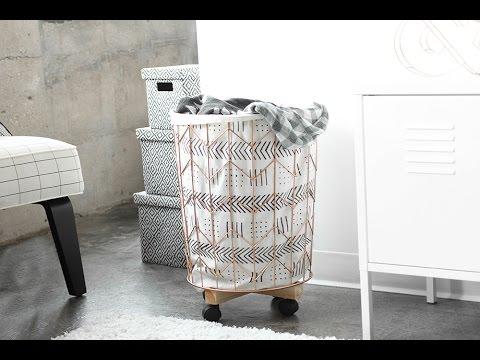 MY DIY | Mudcloth Print Cotton Canvas & Wire Hamper