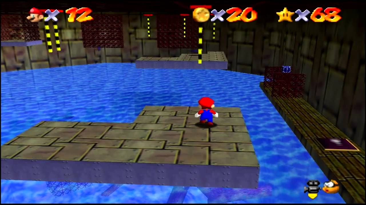 Super Mario 64 (N64) Dire Dire Docks Star #3 Pole Jumping For Red Coins