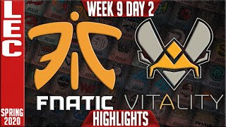 FNC vs VIT Highlights | LEC Spring 2020 W9D2 | Fnatic vs Vitality